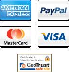 We accept American Express, PayPal, MasterCard, Visa